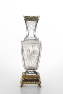オールドバカラ(透明)花食い鳥文花瓶